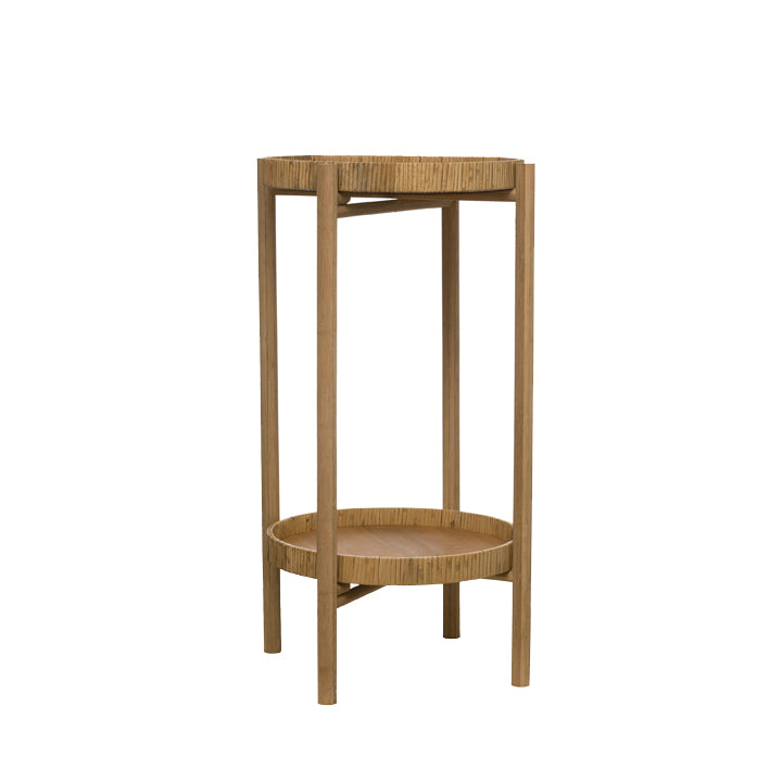 ROUND RATTAN & BAMBOO 2-TIER TRAY TABLE