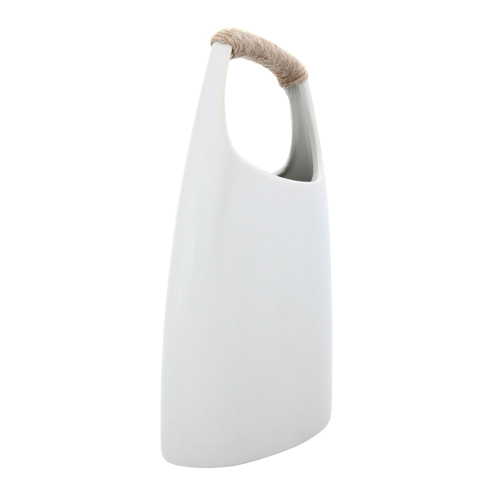 Load image into Gallery viewer, STONEWARE VASE WITH RATTAN WRAPPED TOP HANDLE