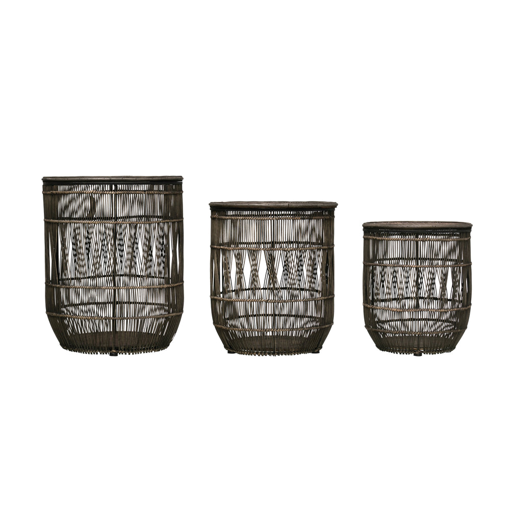 SET OF 3 DISTRESSED RATTAN AND BLACK METAL FRAME BASKETS/ACCENT TABLE WITH BAMBOO LIDS