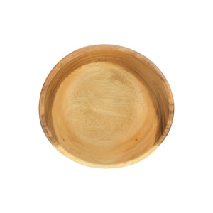 ROUND CARVED ACACIA WOOD SERVING BOWL