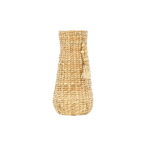 DECORATIVE WATER HYACINTH VASE WITH BEADED TASSELS