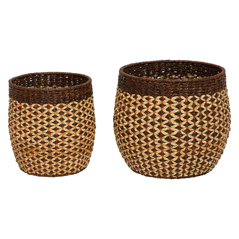 "16""H & 20""H HANDWOVEN PANDAN & RATTAN BASKETS (SET OF 2 SIZES)"