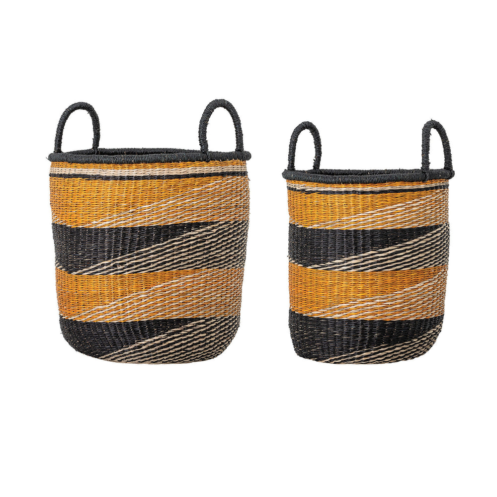 SET OF 2 HANDWOVEN MUSTARD YELLOW & BLACK STRIPE SEAGRASS BASKETS WITH HANDLES