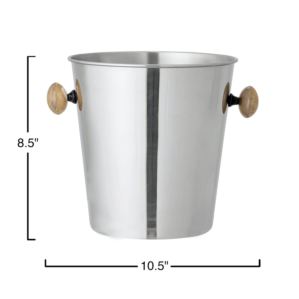 2.5 QUART STAINLESS STEEL ICE BUCKET WITH BUFFALO HORN HANDLES