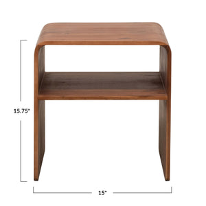 ACACIA WOOD SIDE TABLE WITH SHELF