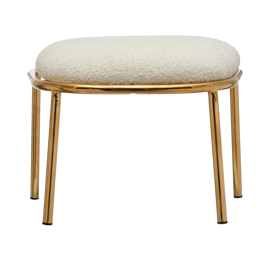 BOUCLÉ FABRIC UPHOLSTERED STOOL, IVORY COLOR WITH GOLD FINISH METAL LEGS