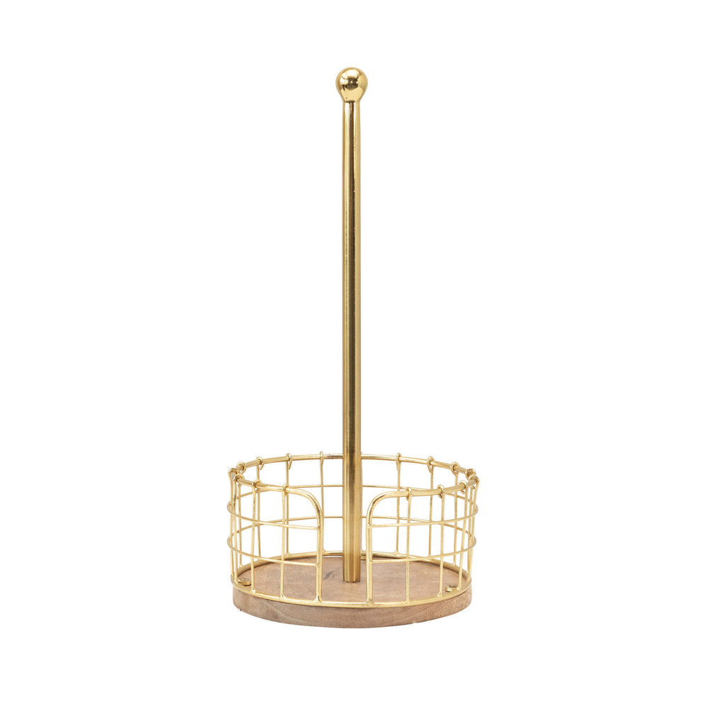"Load image into Gallery viewer, 14""H METAL & WOOD PAPER TOWEL HOLDER WITH GOLD FINISH BASKET BASE"