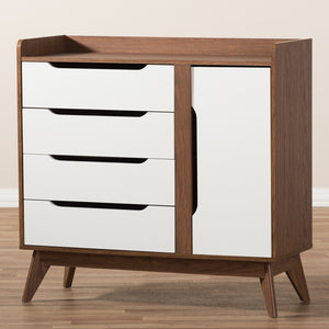 MID-CENTURY MODERN WHITE AND WALNUT WOOD STORAGE SHOE CABINET