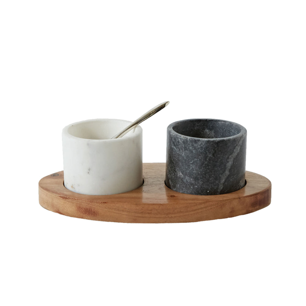MARBLE BOWLS ON MANGO WOOD TRAY WITH BRASS SALT SPOON, SET OF 2