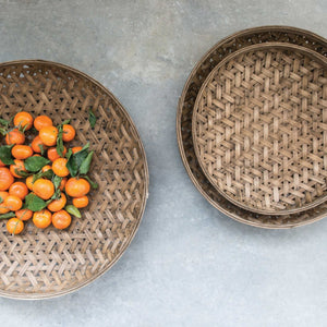 ROUND BAMBOO BASKETS, SET OF 3