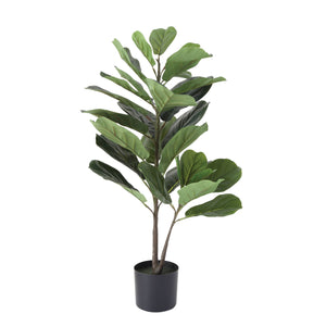 "36"" POTTED FAUX FIDDLE FIG LEAF PLANT"