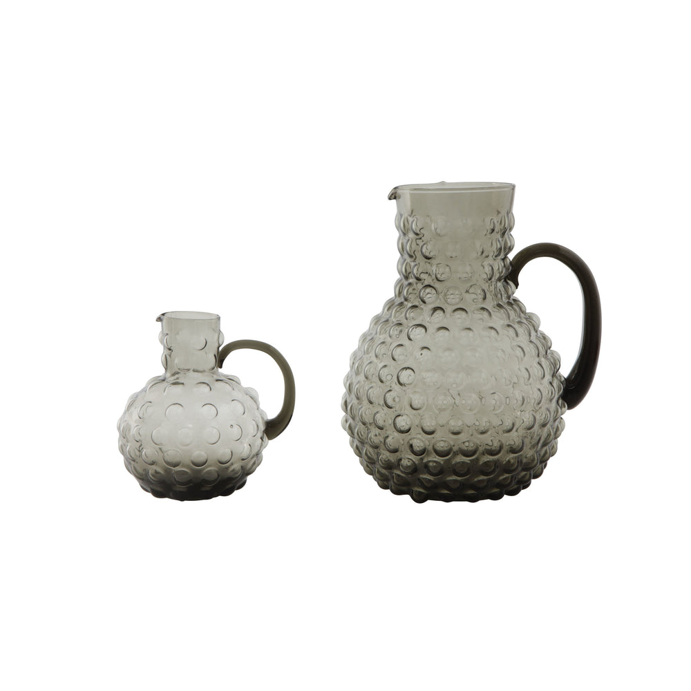 LARGE TRANSPARENT HOBNAIL GLASS PITCHER