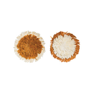 RUST ORANGE & CREAM FEATHER WALL DÉCOR, SET OF 2