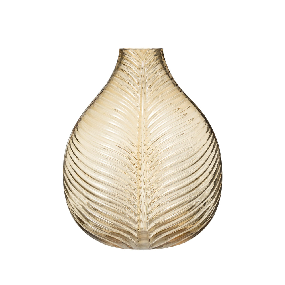 GLASS VASE WITH EMBOSSED LEAF PATTERN