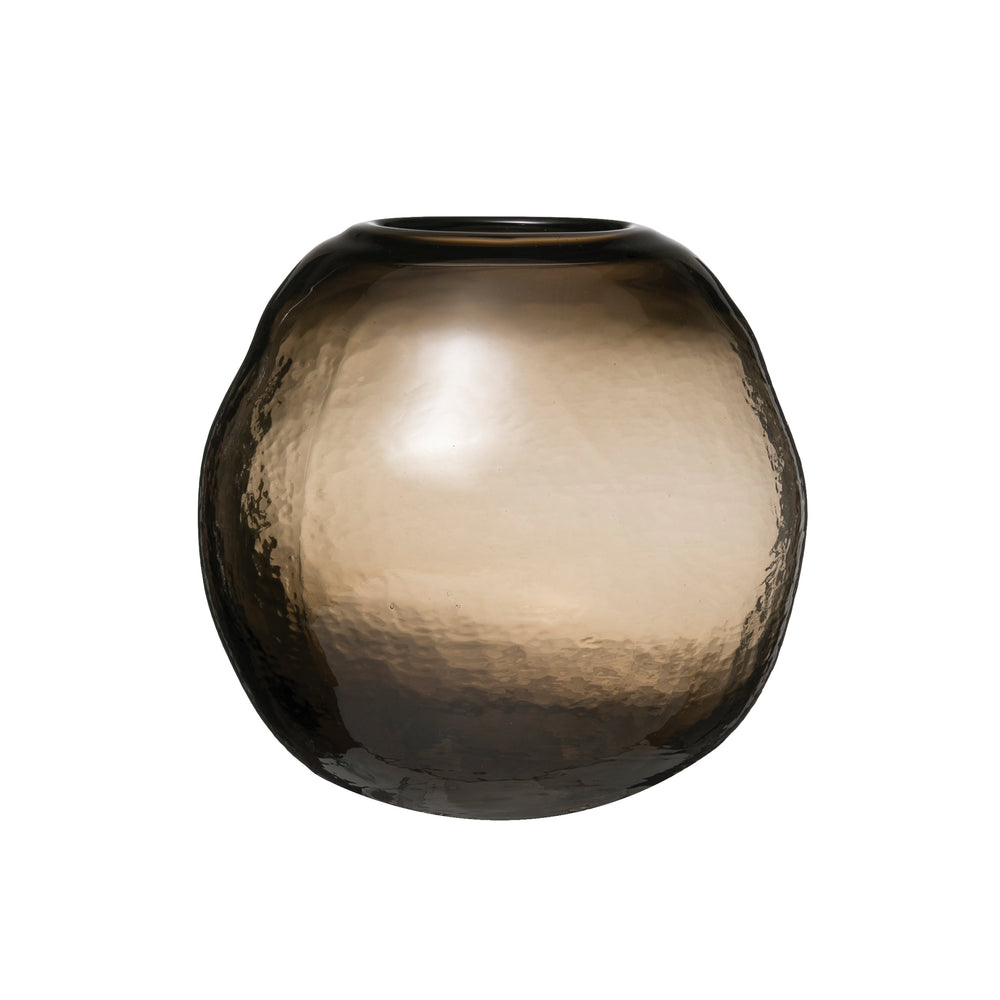 TRANSPARENT BALL-SHAPED GLASS VASE