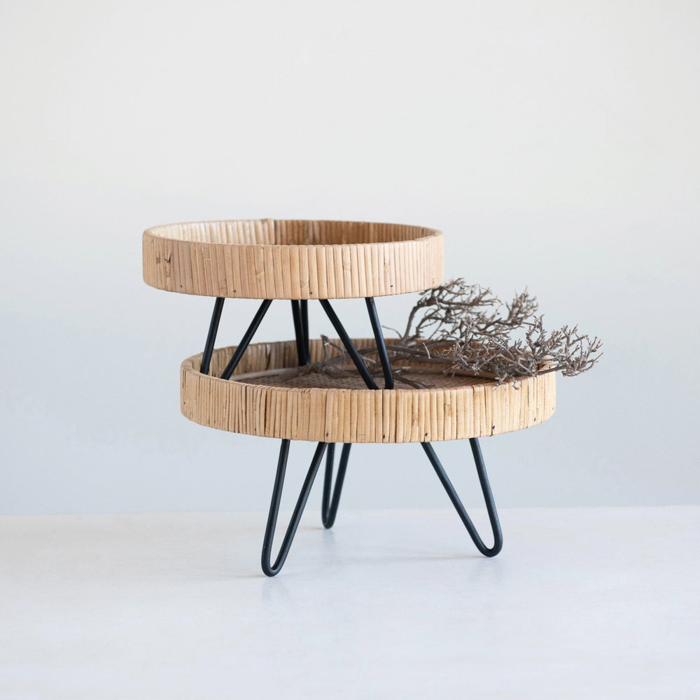 WOVEN RATTAN PEDESTAL WITH METAL HAIRPIN FEET