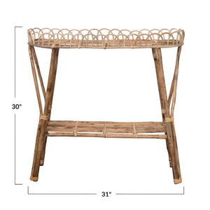 CANE RATTAN SIDE TABLE & PLANT STAND