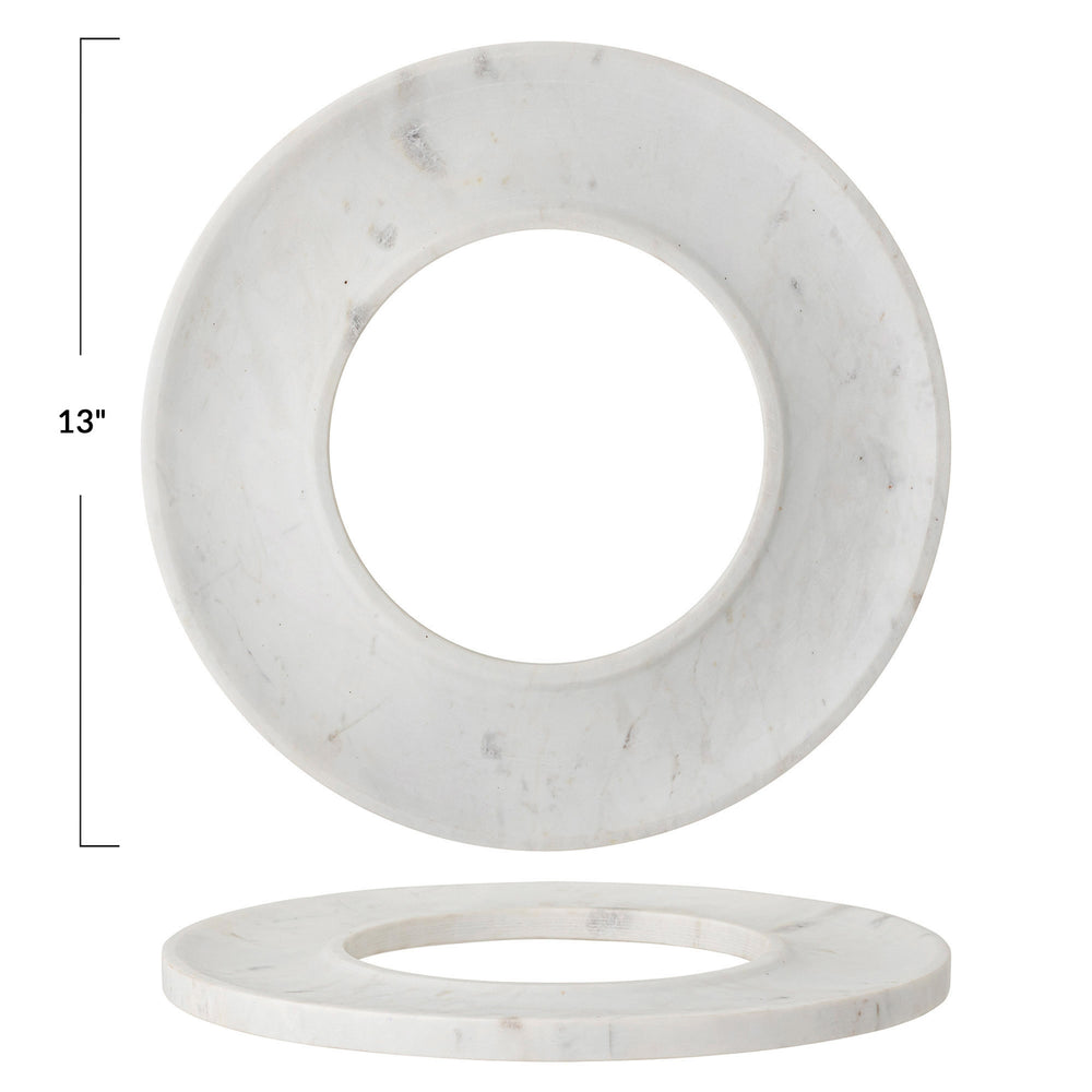 "13"" WHITE MARBLE CIRCLE CRACKER & CHEESE TRAY"
