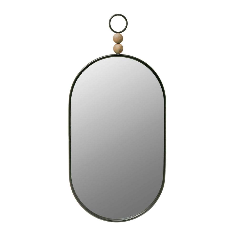 "35.25"" OVAL METAL FRAMED WALL MIRROR WITH WOOD BEADS, BLACK"