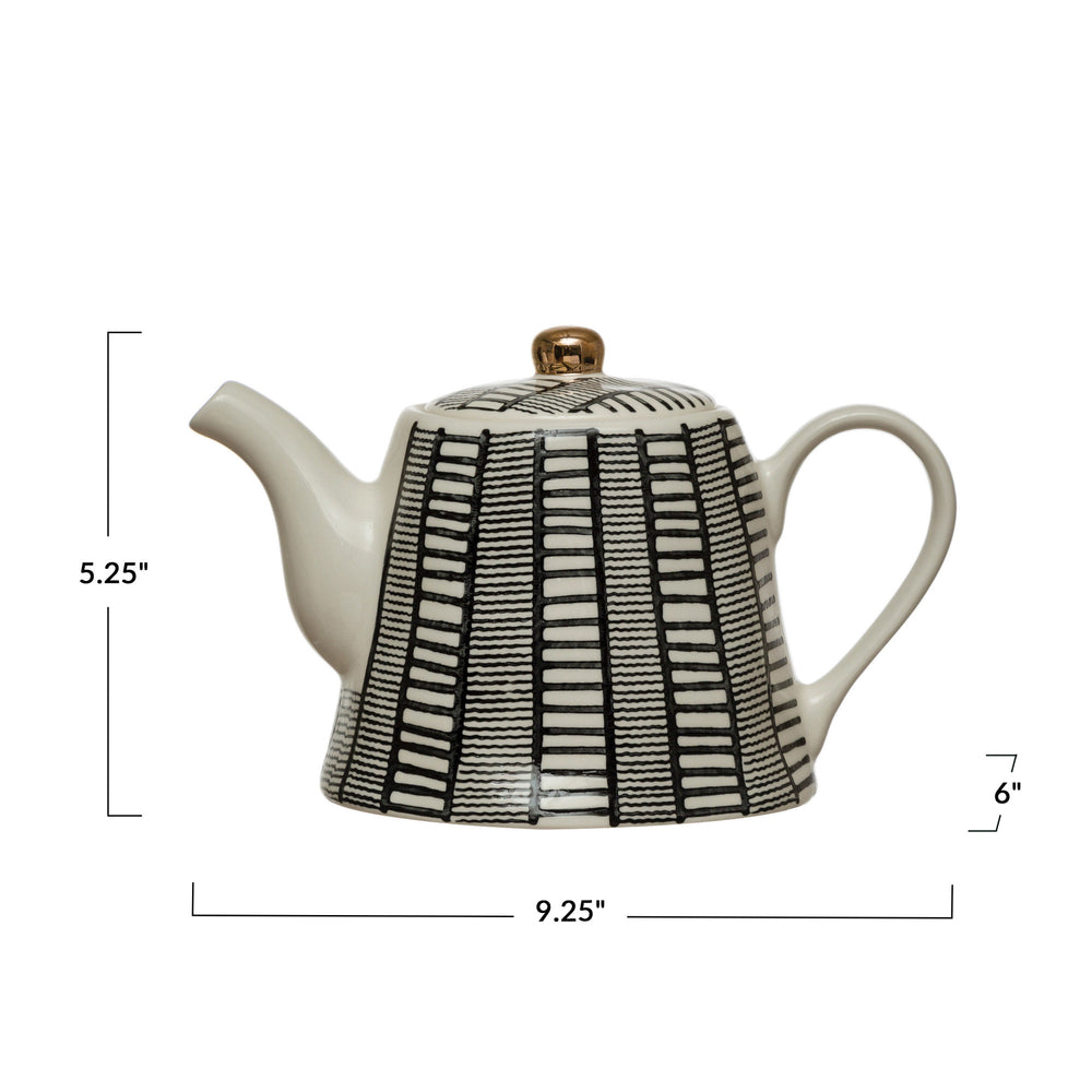 BLACK AND WHITE STONEWARE TEAPOT WITH HAND PAINTED PATTERN & GOLD ELECTROPLATING, 18oz