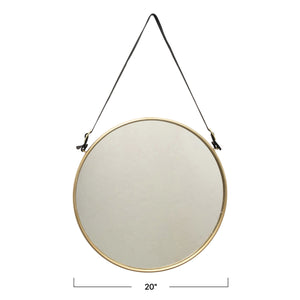 "20"" ROUND METAL & MDF HANGING WALL MIRROR WITH BUCKLED STRAP, BRUSHED BRASS FINISH"
