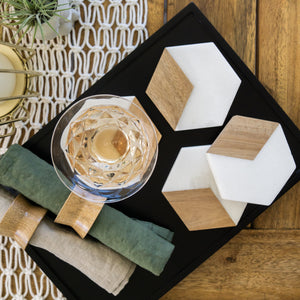 MARBLE + ACACIA WOOD COASTER SET