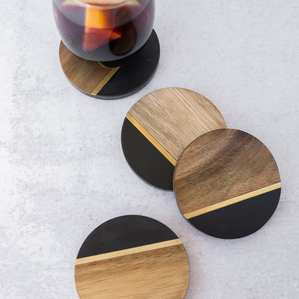 ACACIA SLATE W/ BRASS INLAY COASTER SET