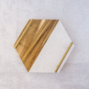 MARBLE + ACACIA WOOD HEX TRAY W/ BRASS HANDLES