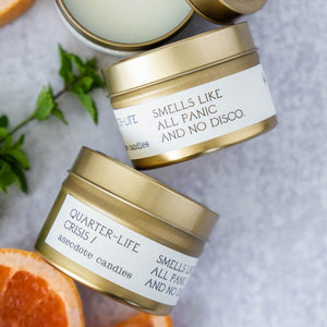 QUARTER-LIFE CRISIS (GRAPEFRUIT & MINT) TRAVEL TIN CANDLE