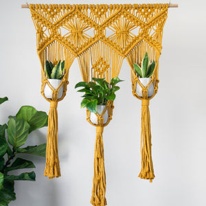 Load image into Gallery viewer, MUSTARD YELLOW TRIPLE PLANT HANGER