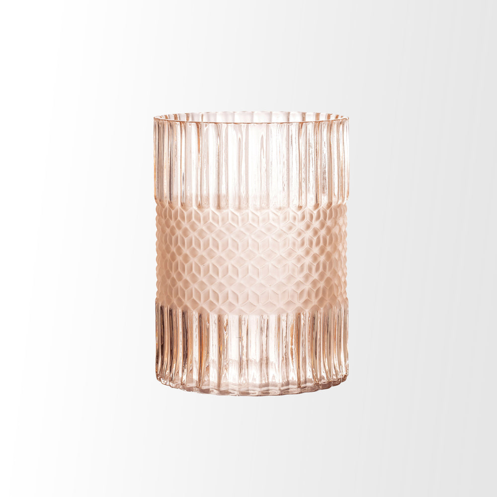 Load image into Gallery viewer, ELEGANT MATTE PINK EMBOSSED GLASS VASE