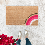 THINK PINK - HELLO SUNSHINE PINK RAINBOW | WELCOME MAT