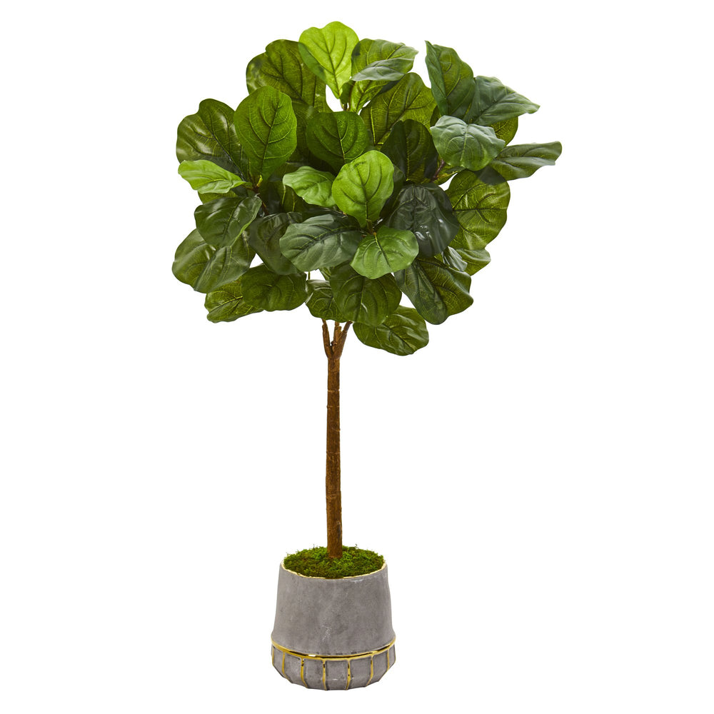 "41"" FIDDLE LEAF ARTIFICIAL TREE IN STONEWARE PLANTER WITH GOLD TRIM"
