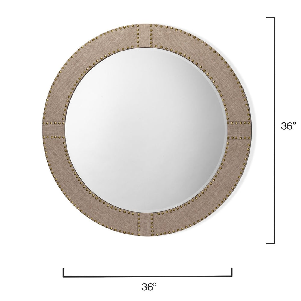 "Load image into Gallery viewer, CAIT 36"" LINEN ROUND MIRROR"