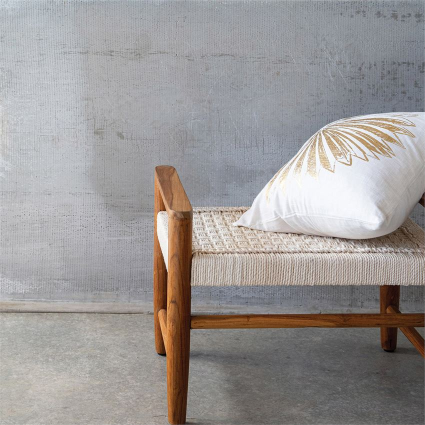 TEAK WOOD & HAND-WOVEN COTTON ROPE BENCH