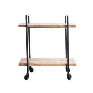 BROWN MANGO WOOD & BLACK METAL 2-TIER CART