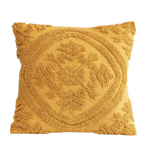 SQUARE MUSTARD COLOR COTTON WOVEN LOOPED PILLOW