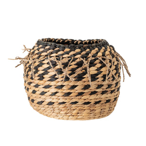 "9.25""H HANDWOVEN NATURAL WATER HYACINTH BASKET WITH BRAIDED FRINGE"