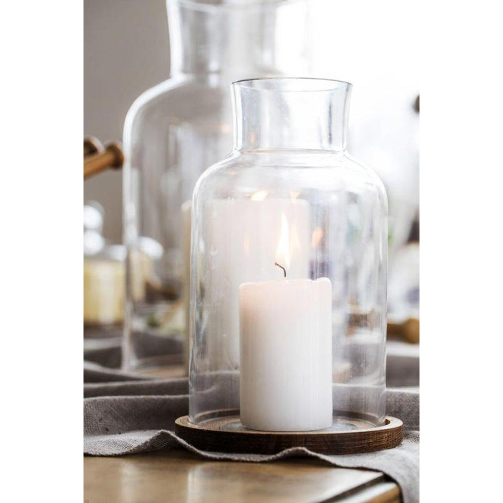 Load image into Gallery viewer, GLASS & OAK CANDLEHOLDER