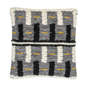 BLACK, WHITE & YELLOW SQUARE WOOL BLEND PILLOW