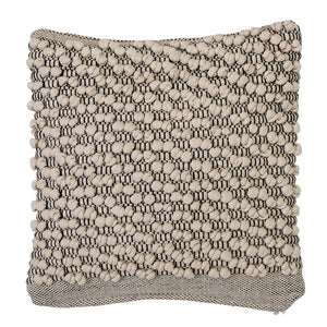 IVORY & GREY SQUARE COTTON PILLOW