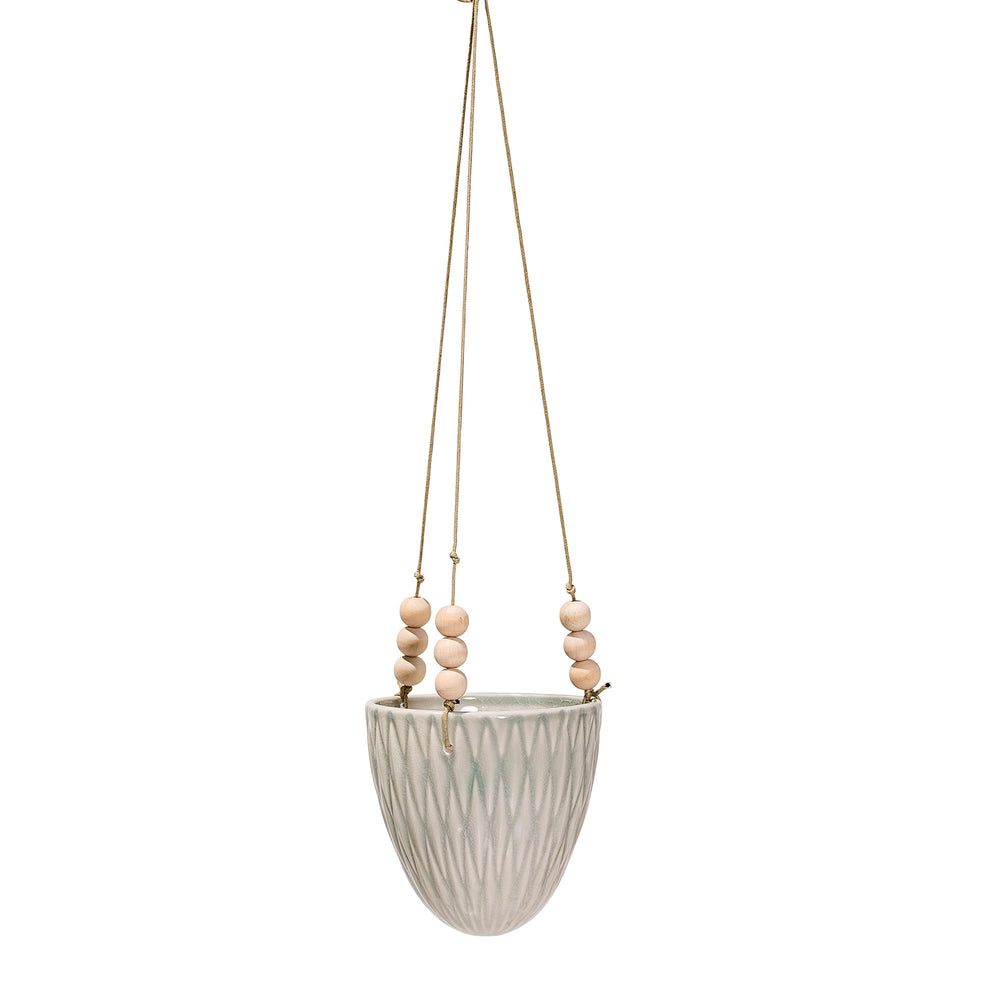 STONEWARE HANGING FLOWER POT WITH WOOD BEADS