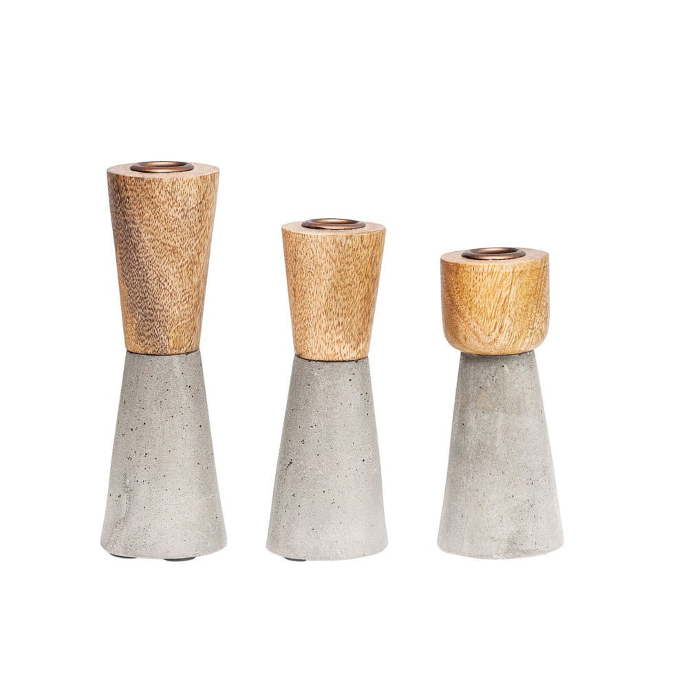 BROWN WOOD & GRAY CEMENT CANDLEHOLDERS, SET OF 3