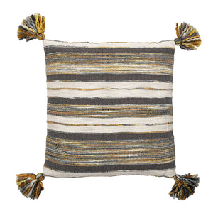 GREY, WHITE & YELLOW HANDWOVEN COTTON BLEND PILLOW WITH CORNER TASSELS