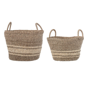 BROWN STRIPED NATURAL SEAGRASS & PALM BASKETS WITH HANDLES (SET OF 2 SIZES)