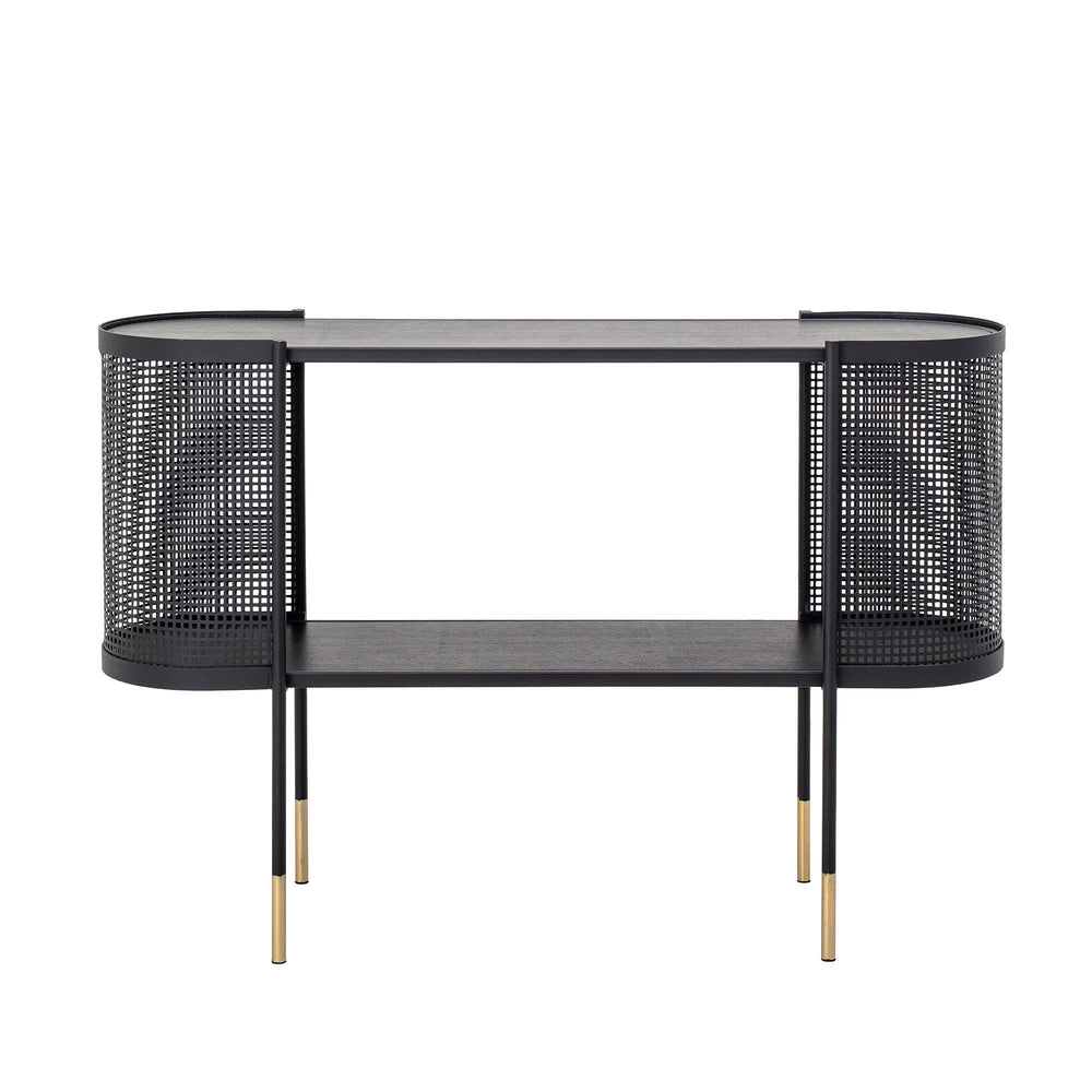 PERFORATED BLACK METAL CONSOLE TABLE