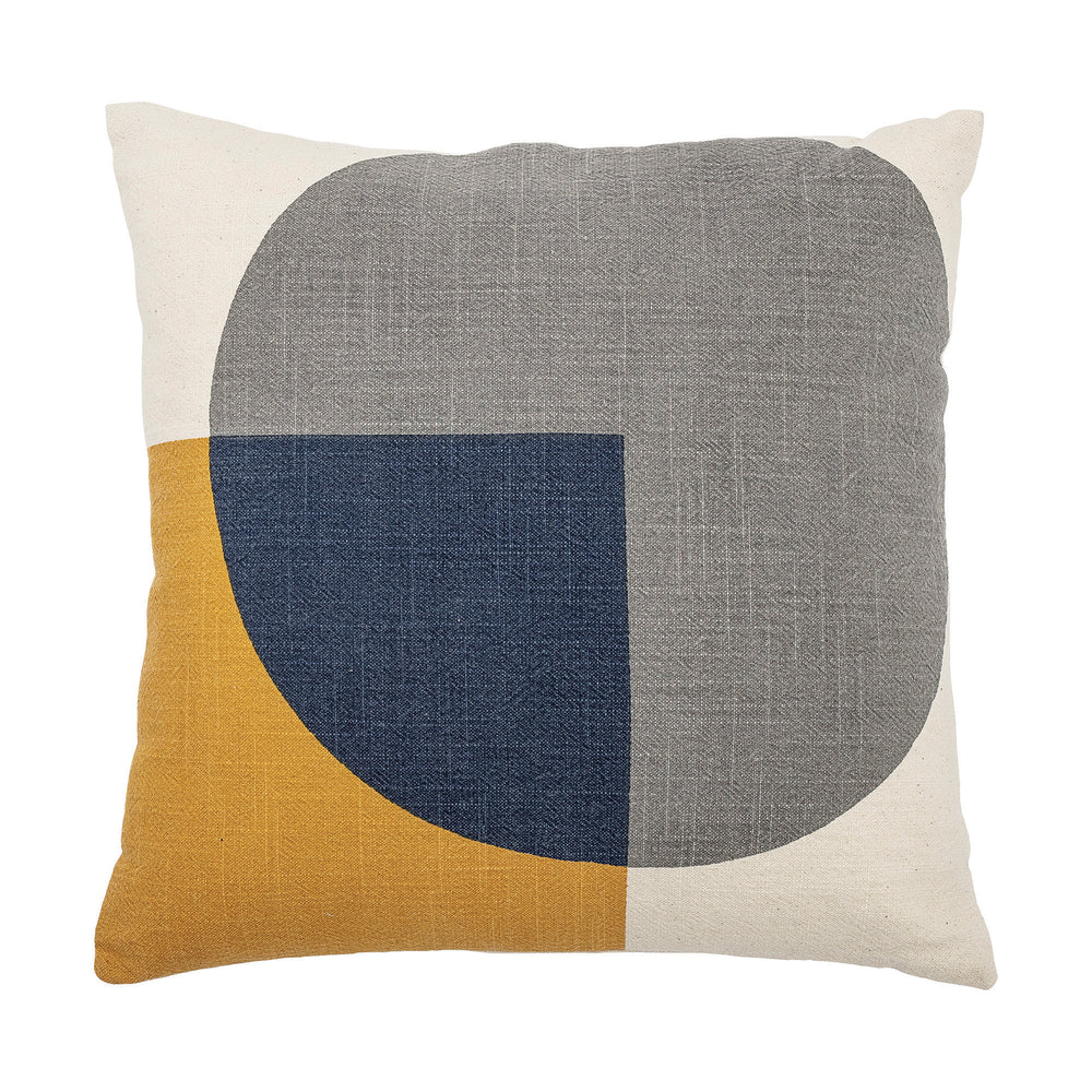 SQUARE CREAM COTTON PILLOW WITH PRINTED MUSTARD & BLUE SHAPES & SOLID CREAM BACK