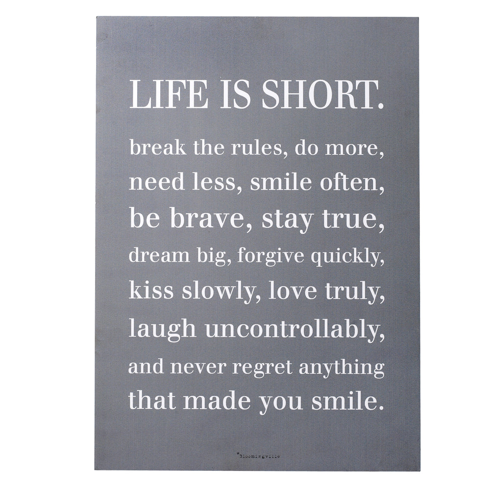 """LIFE IS SHORT"" WALL DECOR"
