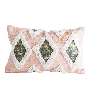 SALMON COLOR COTTON PILLOW WITH THICK EMBROIDERED TRIANGLE DESIGNS