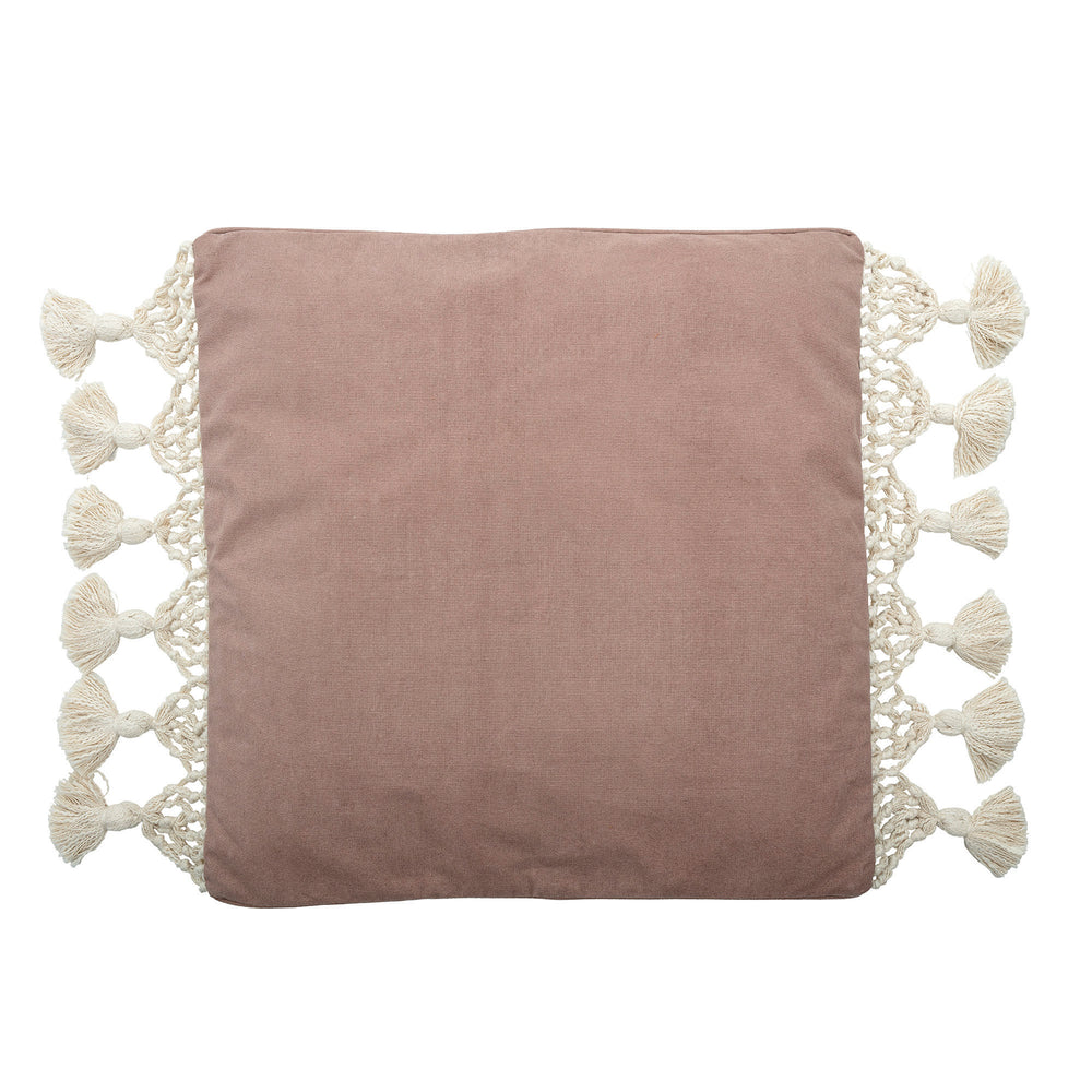 "Load image into Gallery viewer, 26"" SQUARE COTTON WOVEN CANVAS PILLOW WITH MACRAM? TRIM & TASSEL ENDS"